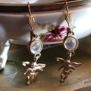 Angel gold faux and pearl earrings
